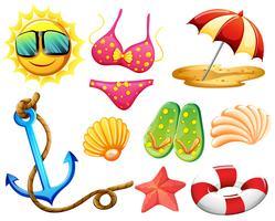 Coisas diferentes usadas durante o verão vetor