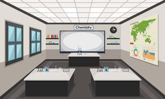 Interior de um laboratório de química vetor