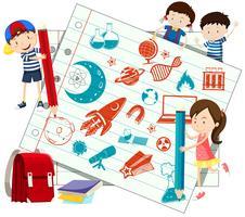 Crianças e símbolos de ciência em papel vetor