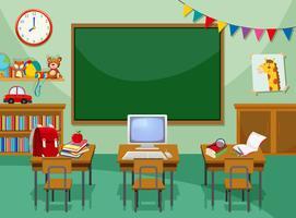 Uma sala de aula vazia de computador vetor