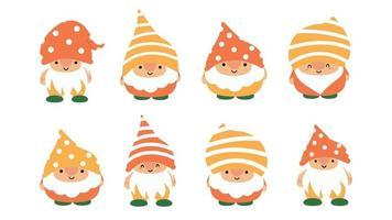 pequeno jardim gnomos e elfos bonitos no estilo cartoon. fadas características para crianças e crianças. desenho de gnomo kawaii e elfo mágico. ilustração vetorial. vetor