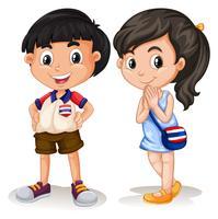 Menino tailandês e menina sorrindo vetor