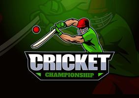 Logotipo de mascote de críquete vetor
