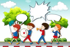 Crianças, tocando, música, em, a, faixa