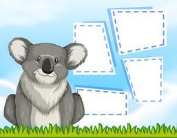 Um coala no modelo em branco vetor