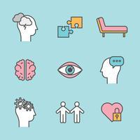 Delineado ícones sobre saúde mental vetor