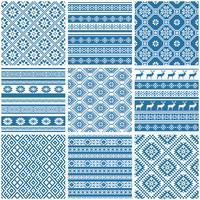 padrões sem emenda étnicos ornamentais azuis e brancos