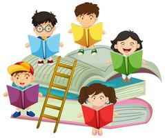 Muitas crianças lendo livros vetor
