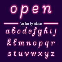 Alfabetos de luz de néon de vetor manuscritas