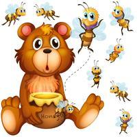Urso segurando pote de mel e abelhas voando por aí vetor