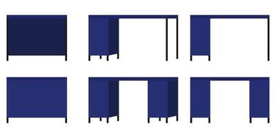 Conjunto de escritório moderno bonito e mesa de casa ao ar livre e com diferentes poses e posições e com gaveta vetor