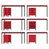 lindo escritório moderno e mesa de casa ao ar livre definida com vermelho preto e com diferentes poses e posições e com gaveta vetor