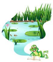 Sapo lendo livro sobre a lagoa vetor