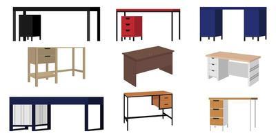 Moderno e bonito escritório em casa e mesa de formato diferente ao ar livre para freelancer com diferentes poses e posições com gaveta vetor