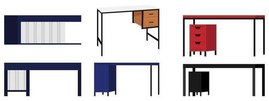 moderno fofo lindo escritório em casa e mesa ao ar livre de formato diferente para freelancer com diferentes poses e posições com gaveta isolada vetor