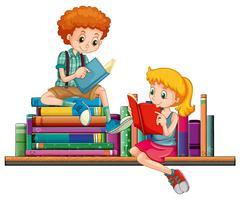 Menino e menina lendo livros juntos vetor
