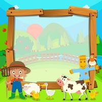 Design de fronteira com agricultor e animais vetor