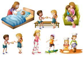Crianças e mãe fazendo atividades diferentes vetor