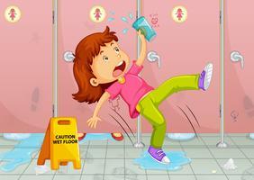 Menina escorregando no chão do banheiro vetor