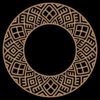 Moldura redonda feita com correntes de ouro. No preto. Ilustração vetorial