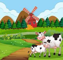 Vaca, em, cena terra cultivada vetor