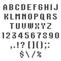 Um alfabeto de vetor de malha. Letras latinas, números, pontuações isoladas no fundo branco. ABC. Ilustração vetorial Pode usar em publicidade, cartões, cartazes, venda, um design de camisola feia