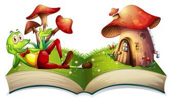 Livro de sapo e casa de cogumelo vetor