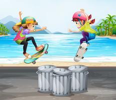 Duas meninas brincando de skate pela praia vetor