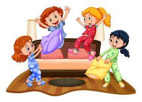 Muitas garotas na festa do pijama
