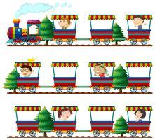Crianças, montando, trens vetor