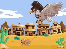 Águia captura rato no deserto vetor