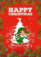 Cartão natal, com, duende vetor