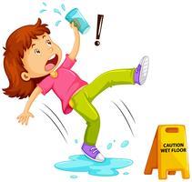 Menina escorregar no chão molhado vetor
