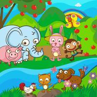 Animais fofos juntos no rio vetor