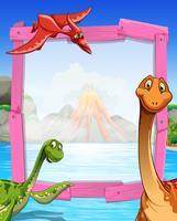 Design de moldura com dinossauros no lago