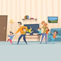 pais cansados mãe pai brincando com crianças sala de estar vetor