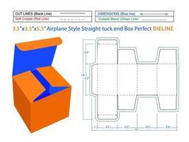 modelo de dieline de 3,5x3,5x5,5 polegadas e caixa 3D editável em estilo avião. vetor