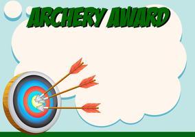 Modelo de certificado para prêmio de tiro com arco vetor