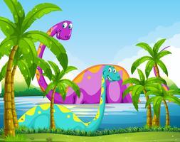 Dinossauro se divertindo no lago vetor