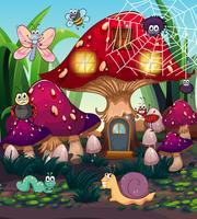 Insetos e casa de cogumelo no jardim vetor