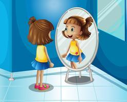 Garota feliz olhando para o espelho no banheiro vetor