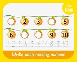 Escreva cada planilha de número ausente vetor