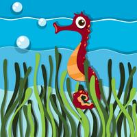Cavalos-marinhos nadando sob o oceano vetor