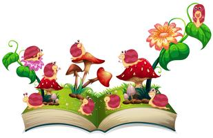 Livro de caracóis no jardim vetor