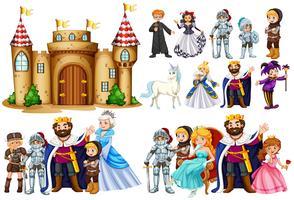 Personagens de conto de fadas e construção de castelo vetor