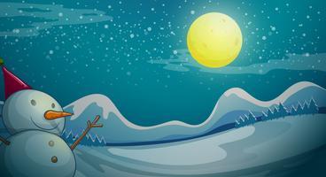 Um boneco de neve sob a lua brilhante vetor