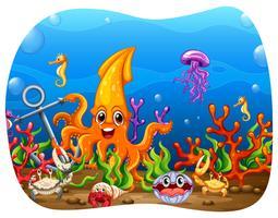Animais marinhos sob a água vetor