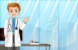 Um médico no hospital moderno vetor