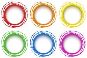 Modelo de seis anéis em cores diferentes vetor