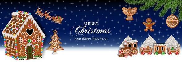 banner de natal com biscoitos de gengibre vetor